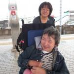 新幹線のホームにて、娘さんに会いにいざ東京へ